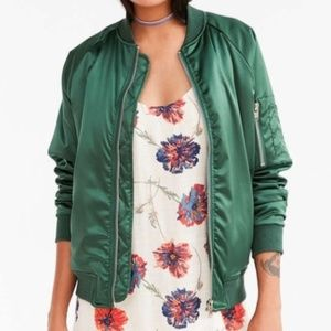 🆕 UNIF Urban Outfitters green satin bomber jacket